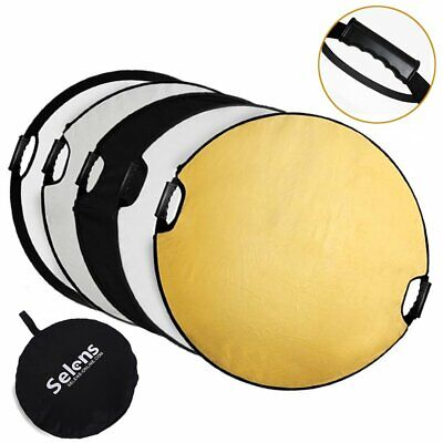 5-in-1 43 Inch 110cm Portable Handle Round Reflector Collapsible Multi Disc