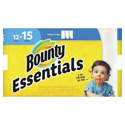 12 Large Bounty Essentials Paper Towels Rolls, Select-A-Size 2-ply