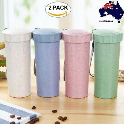 2pc 600ml Travel Mug Office Coffee Tea Water Bottle Cups Straw Wheat Plastlc Cup