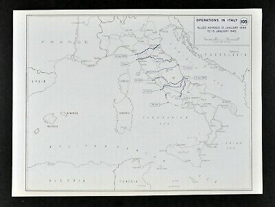 West Point WWII Map Italy Operations Allied Advance Naples Rome Pisa Florence
