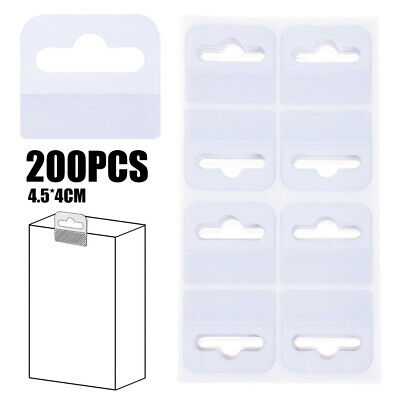200Pcs PVC Slot Hole Adhesive Hang Tabs Tags Hook Fit For Store Retail Display