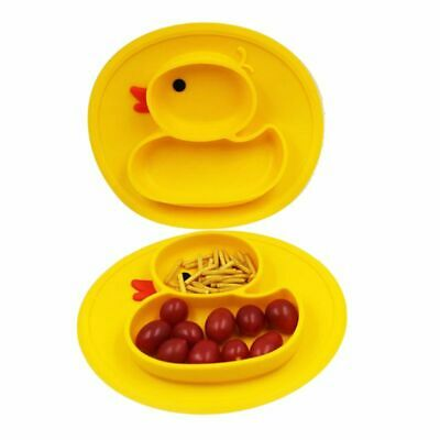 Cartoon Duck Silicone Feeding Plate Tray Holder Baby Kids Toddler Children Bowl