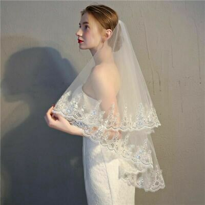 New White ivory 2 Layer Elbow Bridal Wedding Veil With Comb Lace Edge Applique