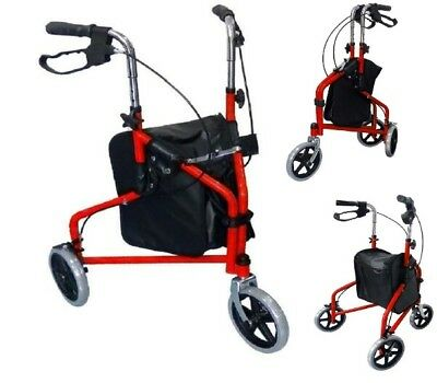 Red Lightweight Rollator 3 Wheel Walker Mobility Walking Zimmer Disability Aid