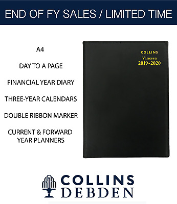 Collins 2019 2020 Financial Year Diary Vanessa A4 Day to Page DTP FY145 Spiral