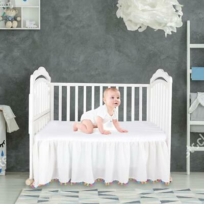 Solid Color Linen Bed Skirt Crib Cover Bedskirt Breathable Baby Safe Dust Ruffl