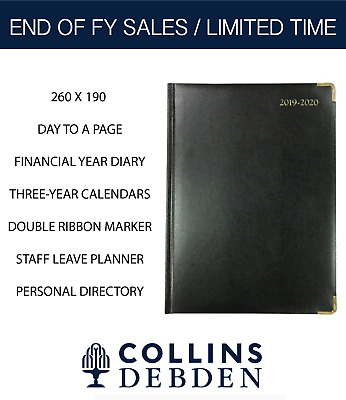 2019 2020 Financial Year Diary Collins Debden Classic Quarto Day to Page Black