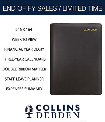 2019 2020 Financial Year Diary Collins Debden Elite Quarto Week to View Black