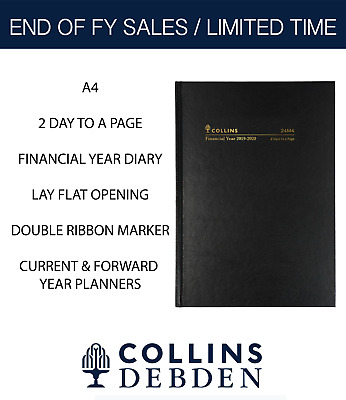 2 Days To A Page Collins 2019 2020 Financial Year Diary A4 Hardcover 24M4 Black