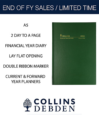 Collins 2019 2020 Financial Year Diary A5 2 Days to Page Hardcover 28M4 Green
