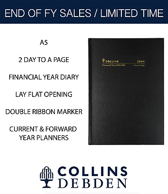 Collins 2019 2020 Financial Year Diary A5 2 Days to Page Hardcover 28M4 Black