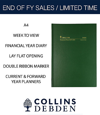 2019 2020 Collins Financial Year Diary A4 Week to View Open Hardcover 34M4 Green