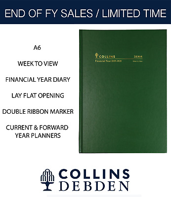 2019 2020 Collins Financial Year Diary A6 Week to View Open Hardcover 36M4 Green