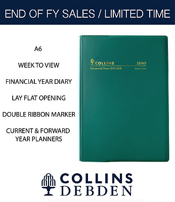 2019 2020 Collins Financial Year Diary A6 Week to View Open Vinyl 36M4 Green