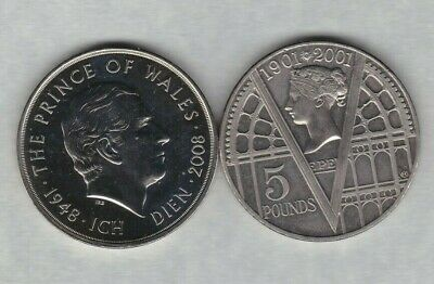 2001 Victoria Era & 2008 Charles £5 Crowns In Near Mint Condition With Capsules