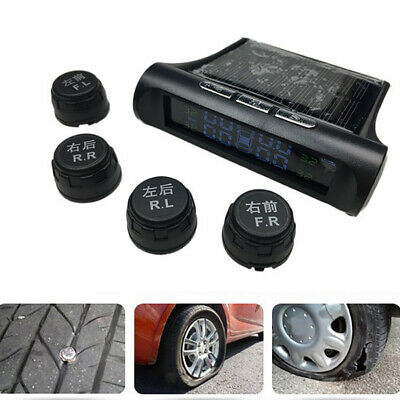 Wireless Solar Car Tire Tyre Pressure Monitoring System External With 4 Sensor