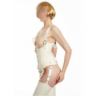 Latex Catsuit Gummi Rubber Sexy White Corset Underbust Cincher Customized 0.4mm