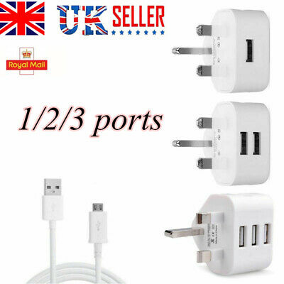 UK Mains Wall 3 2 1 Pin Plug Adaptor Charger Power 4 USB Ports for Phone Tablets