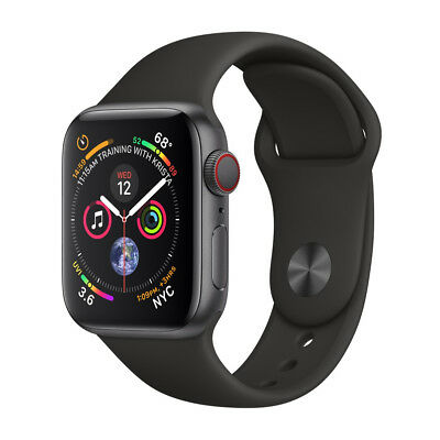 Apple Watch Series 4 44 mm Space Gray Aluminum Case with Black Sport Band (GPS +