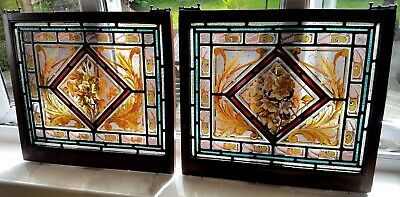 ORIGINAL PAIR Victorian stained leaded glass panels in mahogany & brass frames