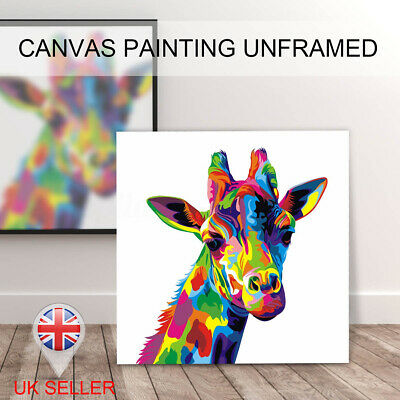 UK Colourful Giraffe Animal Canvas Painting Print Picture Wall Art Decor