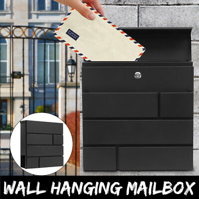 Anthracite Lockable Wall Mounted Letter Post Box Large Postbox Letterbox