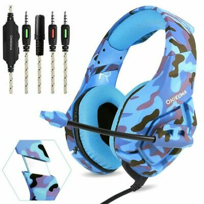 ONIKUMA K1 Stereo Bass Surround Gaming Headset for PS4 Pro Xbox One PC Mic Blue