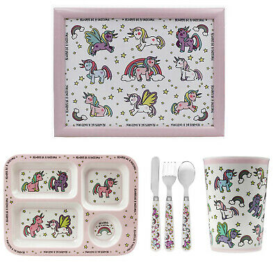 6pcs Kids Unicorn Design Breakfast Dinner Cutlery Set Serving Plate Cup Laptray