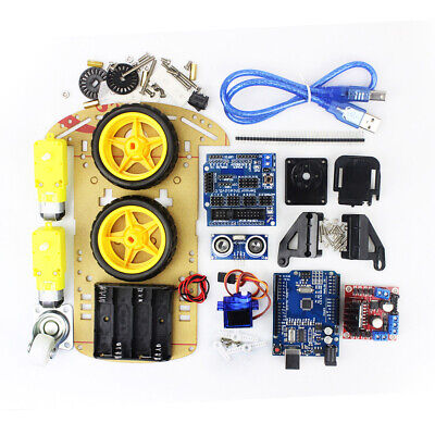 Car Motor Robot Auto Chassis Set Suit For 2WD Ultrasonic Arduino MCU Convenient