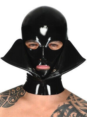 Latex Catsuit Rubber Gummi Front Zip Open Double Hood Cool Mask Customized 0.4mm