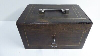 Antique Heavy Duty Strong Box Cash Tin Safe Carry Portable Vault With Key
