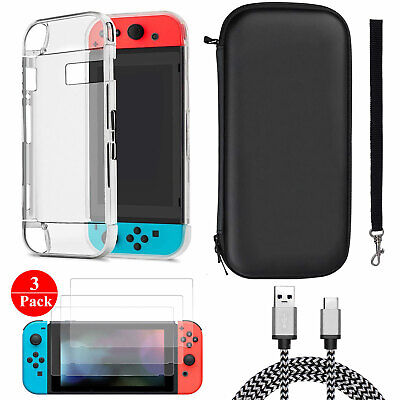 For Nintendo Switch Travel Carrying Case Bag+Shell Cover+Screen Protector +Cable