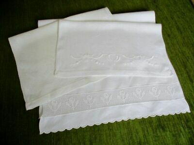 ANTIQUE HUCKABACK HAND GUEST TOWELS - COLL.x 3
