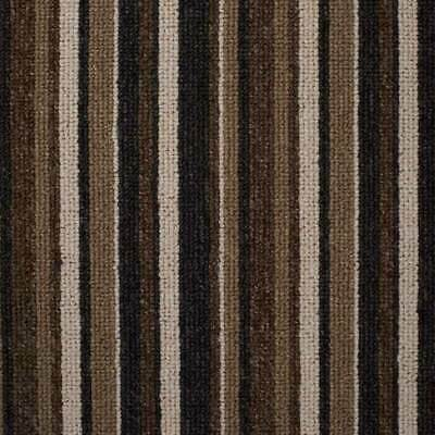 Brown Springfield Cheap Striped Loop Pile Carpet Hardwearing Felt Backed 4m Wide