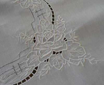 Antique White Linen Tablecloth Topper Hand Embroidered Cutwork Roses Madeira