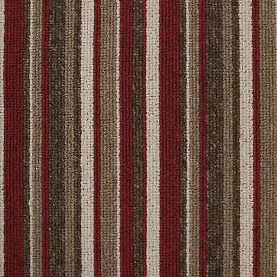 Red Springfield Cheap Striped Loop Pile Carpet Hardwearing Felt Backed 4m Wide