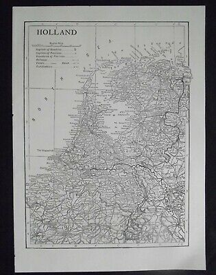 Vintage Map: Holland by Emery Walker, c 1950s, B/W