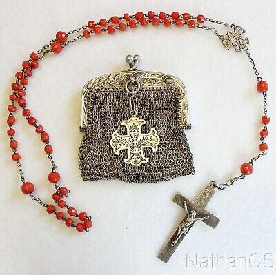 Late XIX Cent Mediterranean Coral & Sterling Catholic Rosary in Ag Mesh Purse