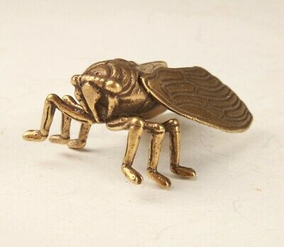 Rare Chinese Bronze Hand-Carved Cicada Animal Statue Figurine Old Collection