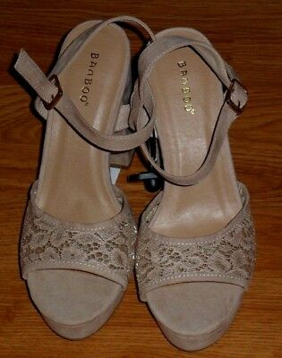 ece7e1be30 Bamboo Women's Chunky Heels Size 8.5 -9 -10 Strappy Tan Lace Suede Current  Nwt