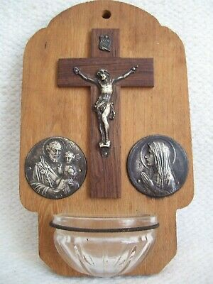 Vintage Wood/Glass/Metal Personal Holy Water Font  with Jesus, Mary, Joseph