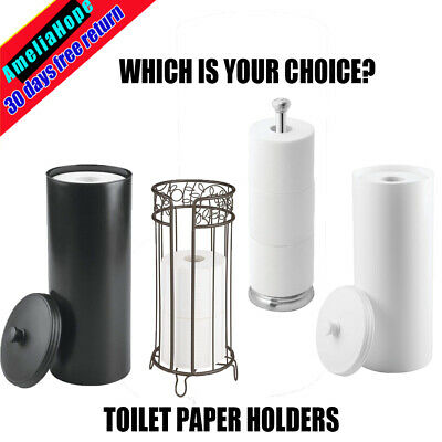 Free Standing Toilet Roll Holder Loo Rolls Storage Bathroom Tissue Paper Stand