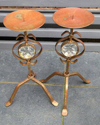 Wrought Iron Gold And Copper Candlesticks With Moulded Glass Inset