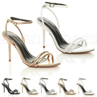 Womens Ladies High Heel Barely There Ankle Strap Evening Party Sandals Size