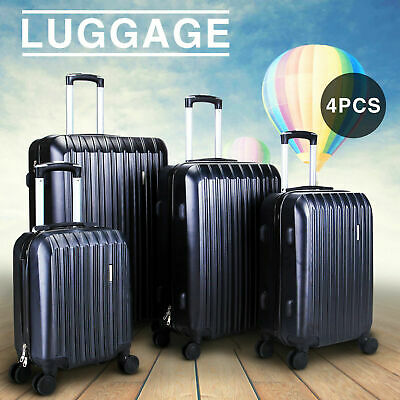 New 4 Piece Travel Spinner Luggage Set Bag ABS Trolley Carry On Suitcase Black