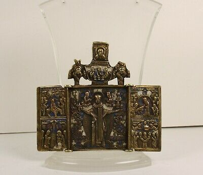 Russian Antigue Orthodox bronze  icon  enameled