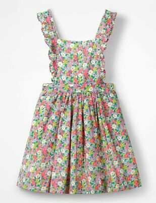 MINI BODEN GIRLS Frilly Cross-Back Dress Pink Vintage Floral G0493 11-12 YRS NEW