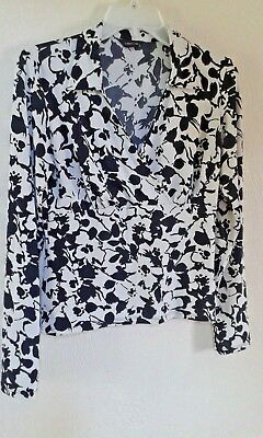 c82af41c65 Tesco F&F Florence And Fred Ladies Ivory Cream Black Floral Top Size 12