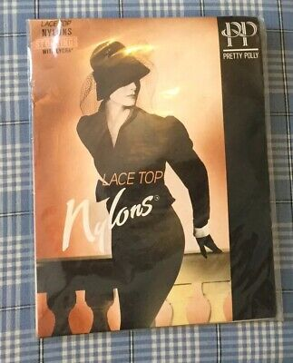 Sealed Vintage Pretty Polly White Lace Top Nylons Stockings Size 3-5