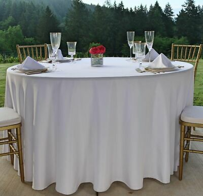 """120"""" Round White Tablecloth Polyester Seamless Wedding Party Banquet Christmas"""
